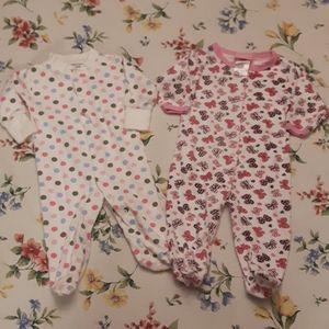 Two baby girls hoodie pyjamas 3-6 months